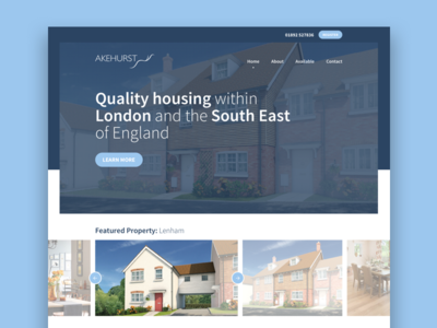 Akehurst property development building house commercial brand ux ui graphic design homepage