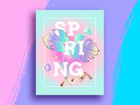 Spring poster in vaporwave colors. Mixer trends.