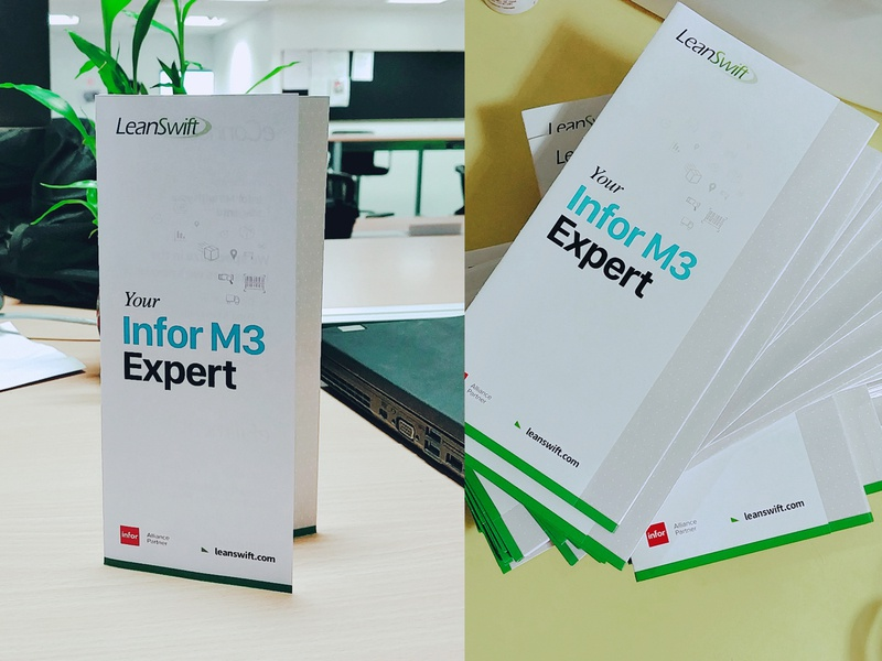 Your Infor M3 Expert - Tri-Fold Brochure warehouse typography trifold brochure trifold print design pamphlet mobilefirst leanswift infor m3 infographic infor illustration flyers flyer design creative design brochure mockup brochure design brochure