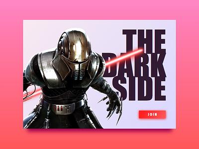The Dark Side card sith red glow typography ui side dark wars star widget