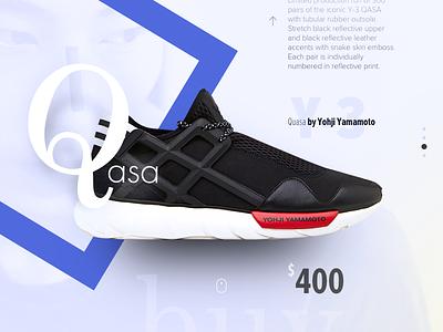 Y-3 Qasa store typography card shoes sneakers y-3 yamamoto yohji qasa ux ui web