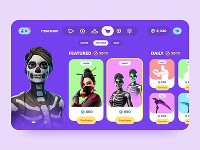 Fortnite shop shop game fortnite figma web ux ui