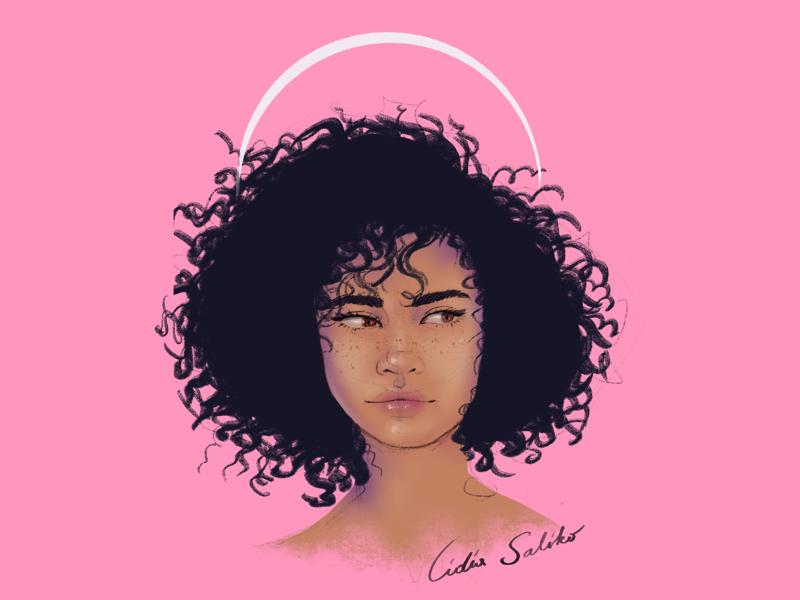 Curly portrait procreate illustration