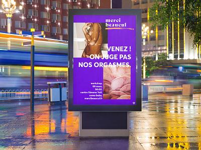 Merci Beacul — branding campaign instagram wellness sexuality brand identity visual identity billboard poster design poster typography branding design
