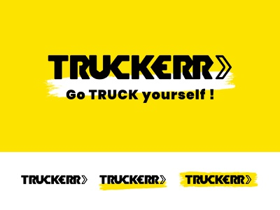 Truckerr - Drayage made easy sans serif thicklines bold geometic mechanic drayage trucking trucker truck logotype typography icon logo visual identity design branding brand identity