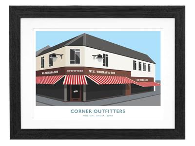 Corner shop illustration shop corner perspective two-point stripes