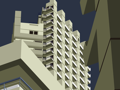 Barbican Tower architecture illustration brutal tower concrete perspective