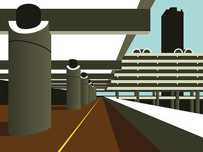 Barbican Walkway architecture illustration brutal distance concrete perspective