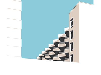 Balconies print architectural modernism illustration balcony