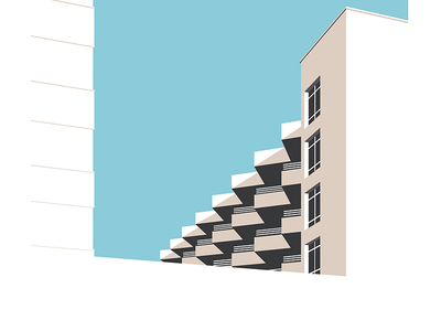 Balconies print architectural modernism illustration balcony