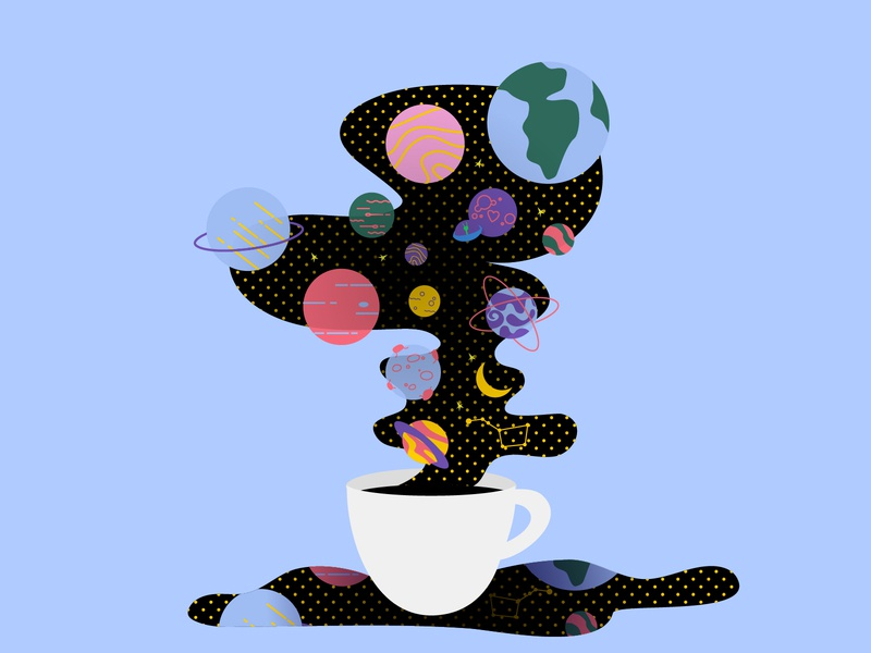 Space in cup abstract planning morning dream coffee cup coffee galaxy space concept design illustration flat