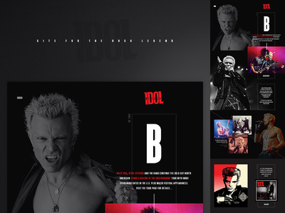 Billy Idol - website billy idol rock punk dark web website webdesign layout ui hellowiktor