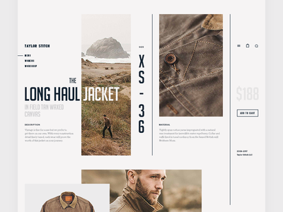 Taylor Stitch - Exclusive product page concept taylor stitch long haul jacket style web unique layout minimal hellowiktor