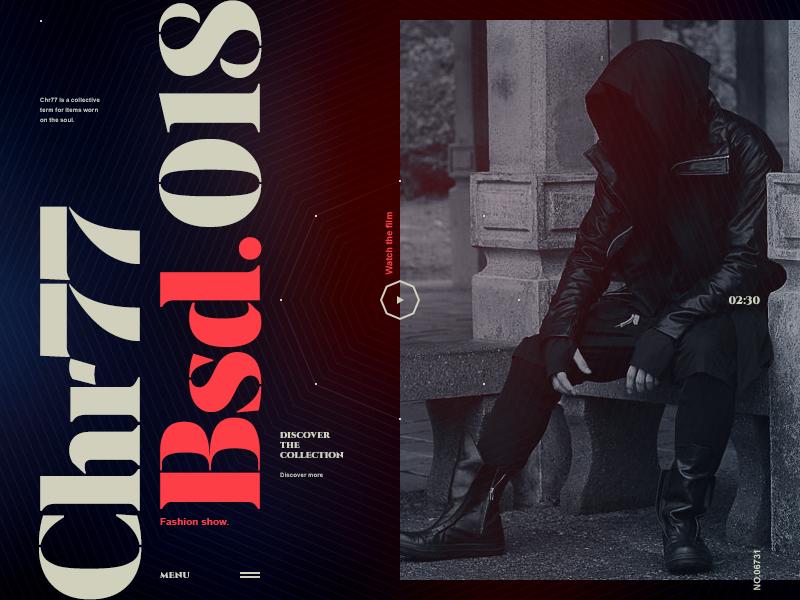 Chr77 fashion show typogaphy ui website hellowiktor bsd.018 chr77