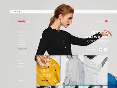 Dualism 11: Superme web design landing page website ux ui layout grid filter clothing shop apparel supreme
