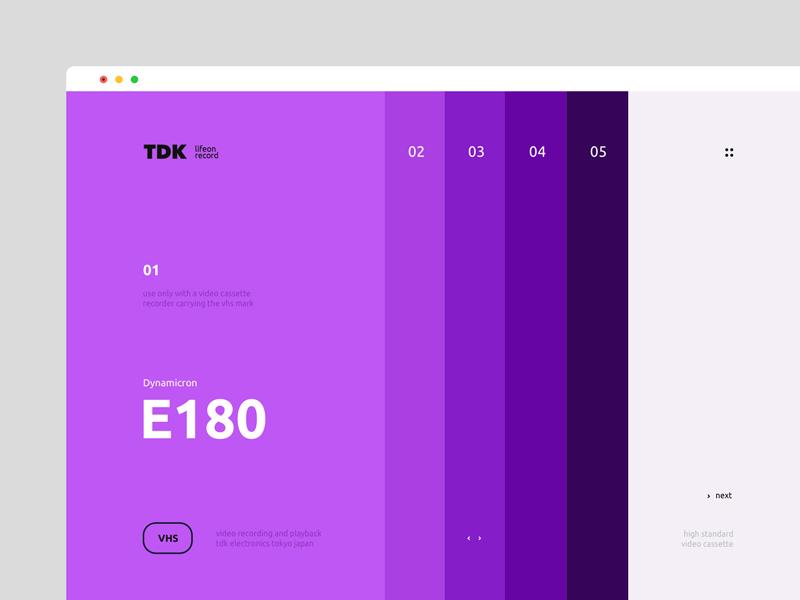 Dualism 13: TDK web design landing page website ux ui layout grid web color vhs purple design