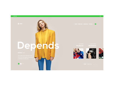 Oneo website yellow ux ui store shop layout page landing design clean green
