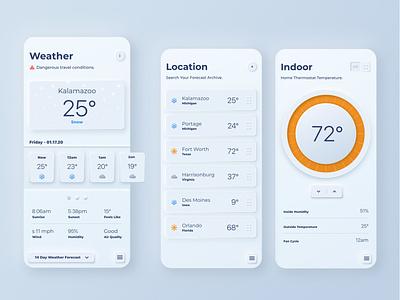 Neumorphism Weather App Concept adobe xd gradient location cloud sun neumorphic digital light kalamazoo snow orange thermostat mobile clean ui design app weather