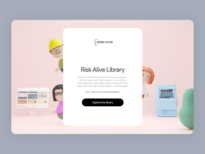 Virtual 3D Library - Splash Screen Option minimal render branding onboarding welcome risk management risk sketch library game characters dashboard slot machine splash screen splash ui blender 3d