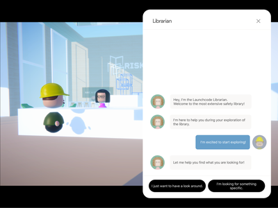 Virtual 3D Library - Librarian Chat interaction ux lobby risk managment chatting interface ui webgl unity librarian library 3d character characters blender web design website chatbot chat web 3d