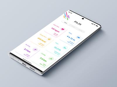 FitJit | Fitness App UI app design fitjit app ui fitjit fitness app ui fitness fitbit fitness app uiux ui design uidesign ui app ui neon neomorphic ui neomorphism soft ui soft flat design minimal flat