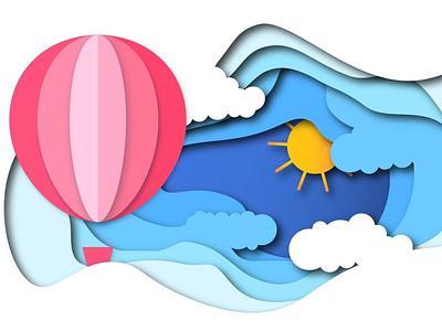 Hot Air Balloon | Paper Cutout | illustration graphic designer graphicdesign illustration design hot air balloons minimal illustration art illustraion illustrator paper cut illustration hot air balloon illustration hot air balloon