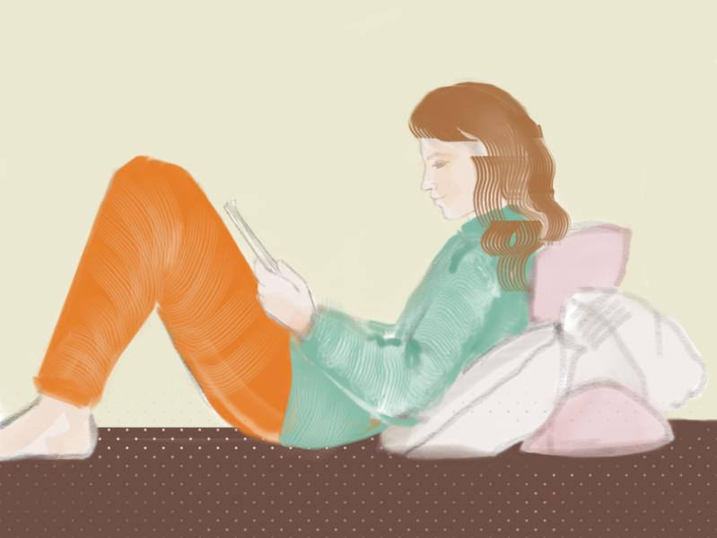 Reading girl read home design illustration character