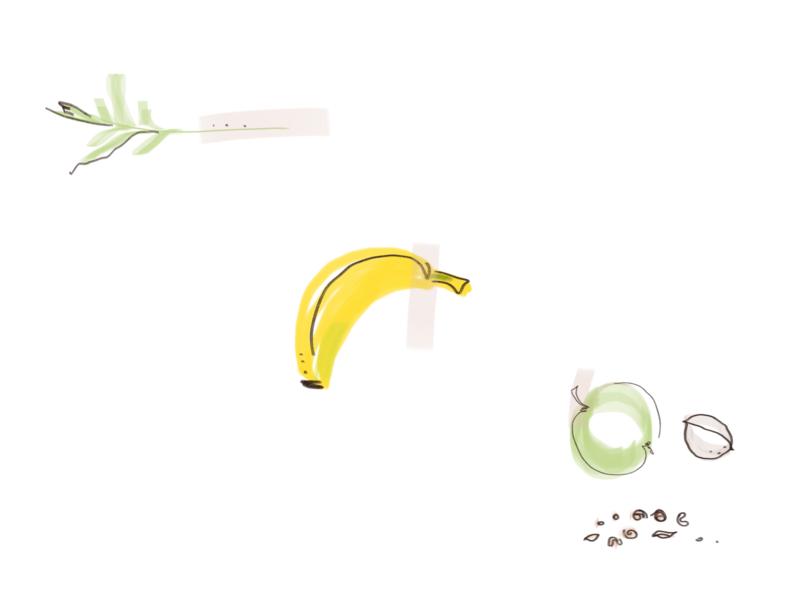 A carrot, a banana, an apple and nuts. banana fruits flat illustration design illustration