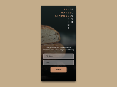 Sign up screen for a bread baking workshop