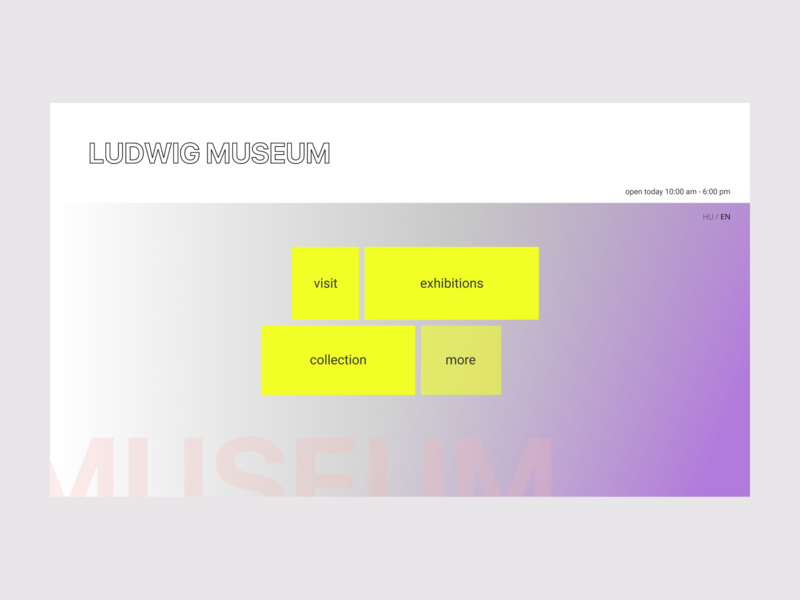 Landing page for a museum of contemporary art gradients contemporary figma 2020 landingpage webdesign ui dailyui
