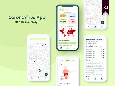 Coronavirus App UI/UX Case study coronavirus covid corona user flow adobe xd xd app typography branding ui ux design