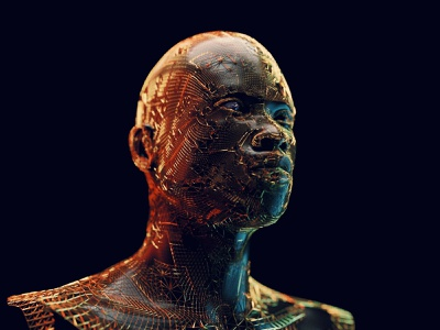 Element metal scary cinemtic gold human head man blender3d blender 3d blender artist 3d artist