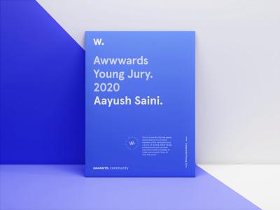 Awwwards Young Jury 2020 certificate designer achievement product design young jury awwwards design