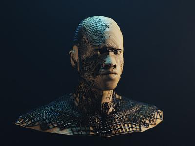 Man of Wood abstract character texture wood 3d artist face human cycles 3d 3d art blender design