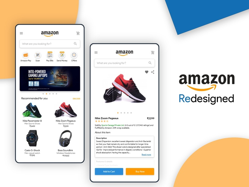 Amazon Redesigned shoes online shopping mobile app mobile app design user interface design prototype user interface branding ux designer adobe xd ux  ui material shopping redesign concept redesigned amazon redesign amazon ux ui design ux ui