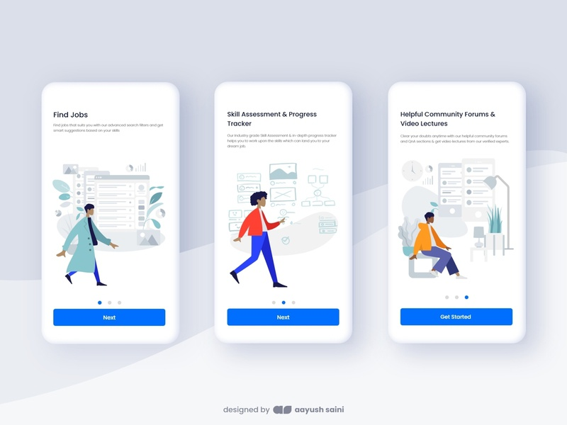 Hirebl App Onboarding career hired job product onboarding onboarding screens vector adobe xd app design illustration ux ui