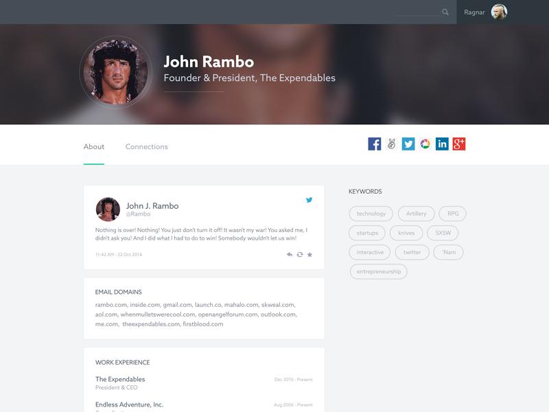 User profile exploration ui user interface flat app webapp web profile visual design user profile exploration