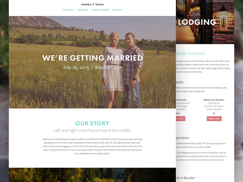 Annika + Travis visual design web design wedding
