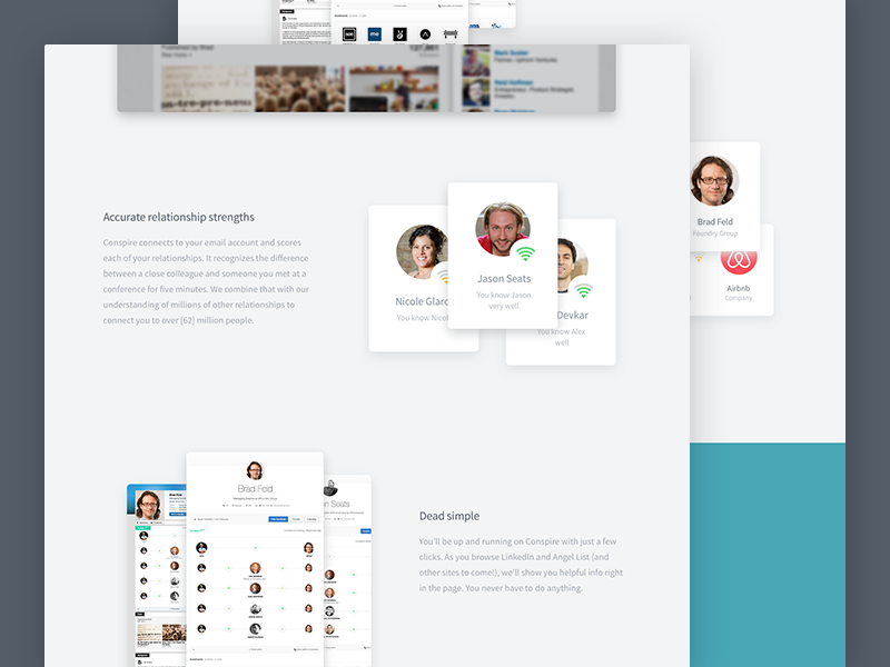 Conspire Landing Page marketing landing ui connections networking minimal clean web design visual design