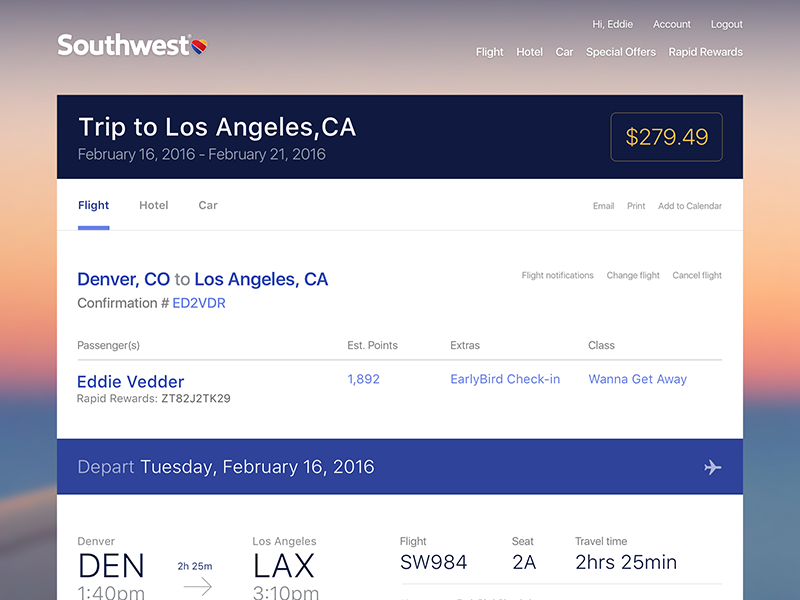 Air Travel Summary travel flight exploration airline user interface ui southwest sketch