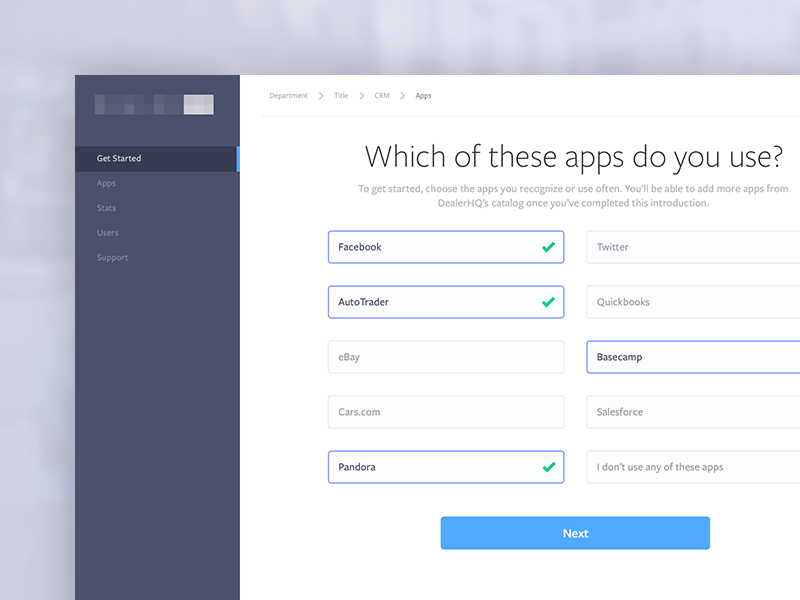 Onboarding Questionnaire ui dashboard app visual design user interface setup flow on boarding