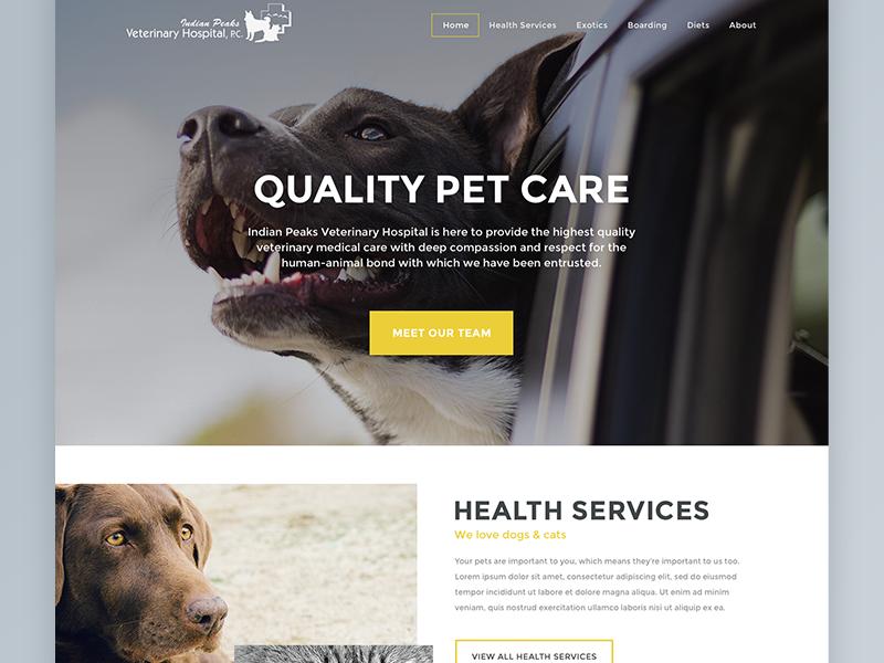 Indian Peaks Veterinary Hospital Preview blog webdesign pets animals veterinary web design ui