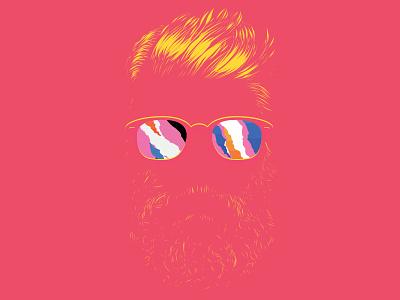 Dream beard glasses red pablo alvarez brighton uk illustration