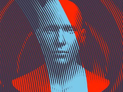Spiral line art face illustration vector