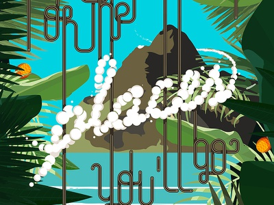 Oh, the places you'll go lettering typography blue poster illustration sea