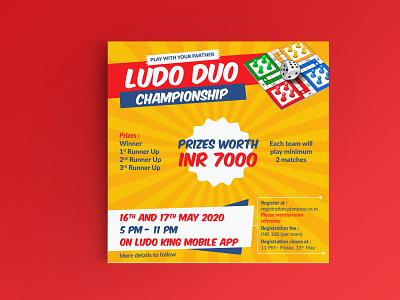Ludo Duo Championship, Ahmedabad (India) competition graphicdesign india gujarat ahmedabad rajasthan jaipur poster design navojuno poster einvite einvitation
