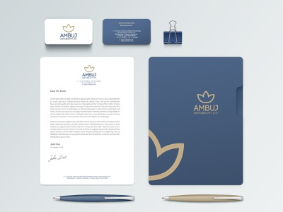 Ambuj Ventures Pvt. Ltd. lotus flower contemporary clean stationery mockup stationery branding identity design visual logodesign logo