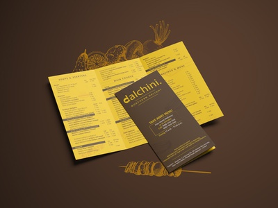 Dalchini Restaurant illustrator indesign india pune restaurant media print publication design publication takeaway menu card menu design menu
