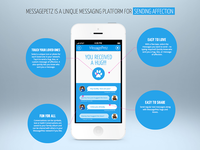 MessagePetz Landing Page messaging iphone web mockup blue ios