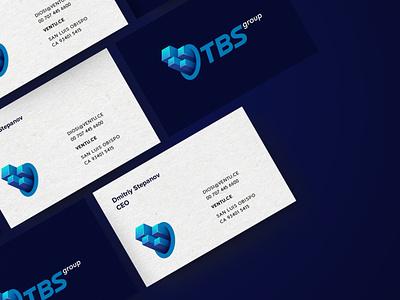 TBS Group business card investment logoinspiration identity branding branding data 3d 3dlogo flat identity visual identity minimalist building business card logos card